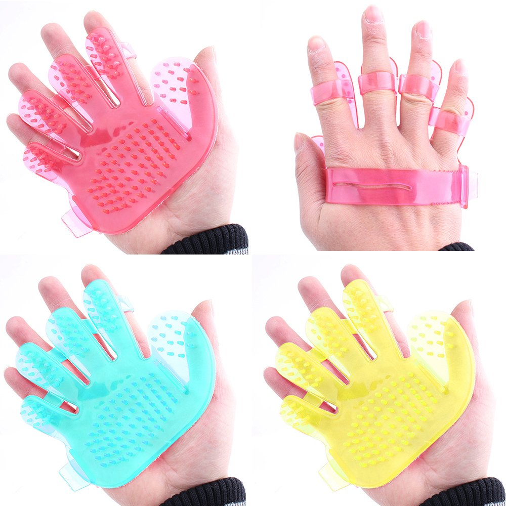 Holrea Pet Bath Brush Shower Comb Hand Shape Massage Glove Cleaning Grooming Bath Brush Hair Remover Mitt for Dogs, Cats and Small Pets
