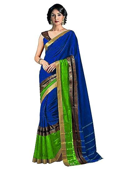 3ff34ece4ba83 Indira Designer Cotton Saree with Blouse Piece (SUPER-DENIM Blue    Green Free Size)