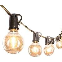 25Feet G40 Globe String Lights with 25 Clear Led Glass Bulbs, Energy Saving UL Listed Backyard Patio Lights for Bistro…