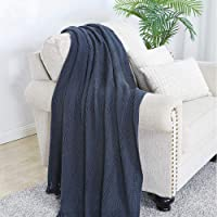 """Throw Blanket Textured Solid Soft Sofa Couch Decorative Knitted Blanket, 50"""" x 60"""",Navy"""