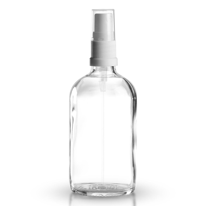 Set di 5 bottiglie trasparenti con spruzzino, in vetro, capienza 100ml, inclusonebulizzatore bianco DIN 18 con cappuccio trasparente di protezione, qualità farmaceutica, prodotte secondo gli standard europei GT Goods Trade GmbH