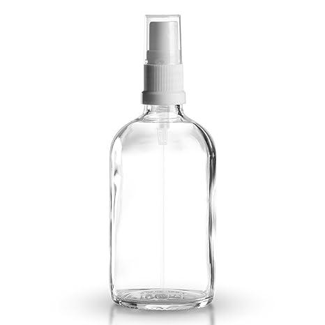 5 x botellas de cristal transparente / botellas pulverizadoras de 100 ml, incluyen cabezal pulverizador