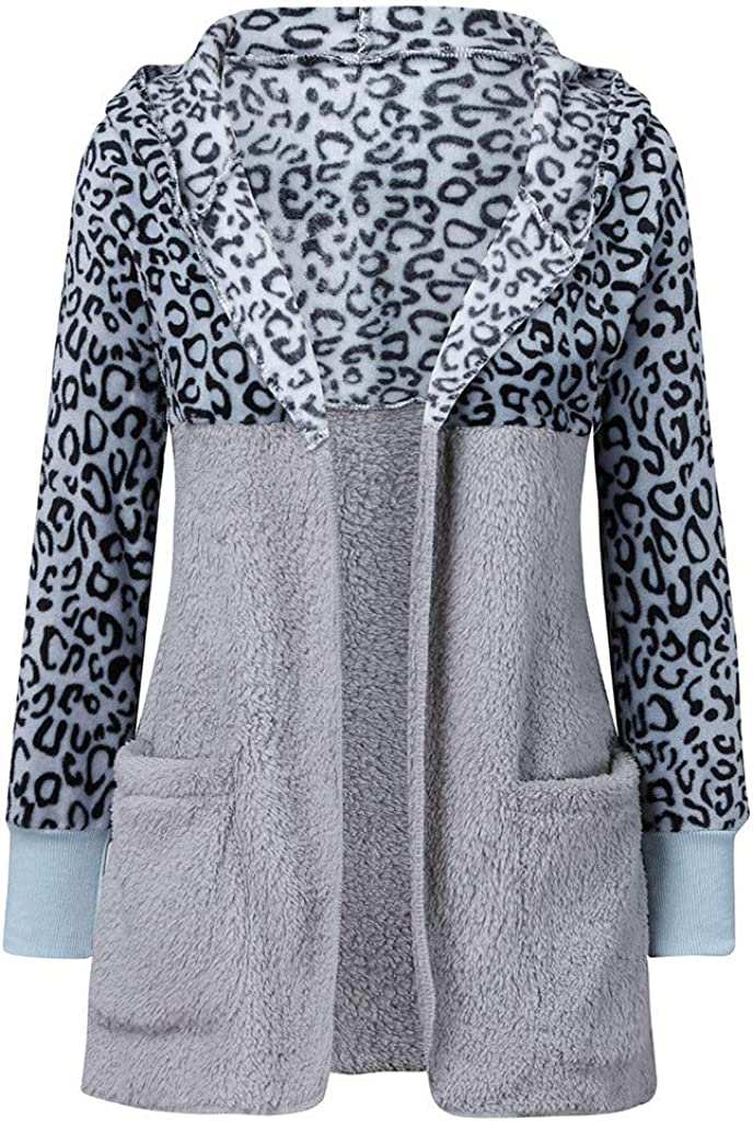 Womens Hooded Cardigans Coats Long Sleeve Casual Oversized Faux Fur Fuzzy Open Front Hoodies Outerwear with Leopard Pockets Ladies Hoodies Teddy Bear Jacket Coat Sale Blue