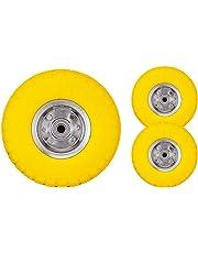 "Bond Hardware® 2 x 10"" Yellow Sack Truck Hand Trolley Cart Wheelbarrow Solid Rubber Wheel Tyre Tires"