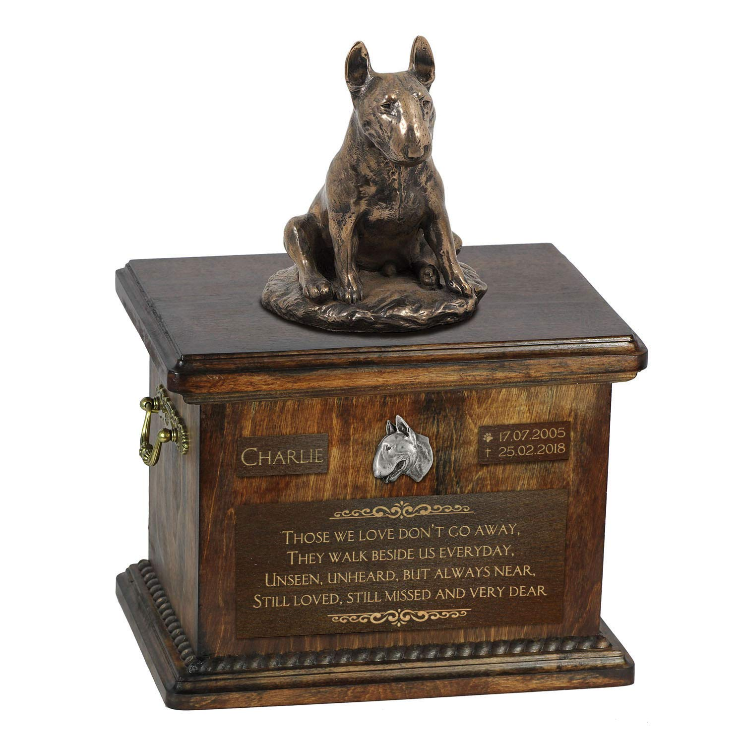 Bull Terrier sitting, Urn for Dog Ashes Memorial with Statue, Pet's Name and Quote ArtDog Personalized