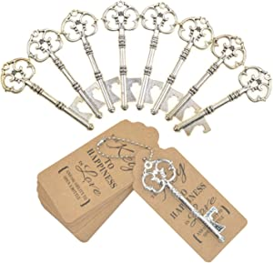 DerBlue 60 PCS Key Bottle Openers,Vintage Skeleton Key Bottle Opener, Wedding Favors Key Bottle Opener Rustic Decoration with Escort Tag Card (Silver)