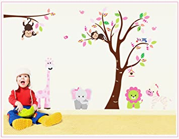 Jungle Animal Owl Lion Monkey Wall Stickers Nursery Kids Children Room Decal Art
