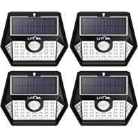 LITOM Upgraded 30 LED Solar Lights Outdoor Wireless IP65 Waterproof Solar Motion Sensor Lights with 3 Lighting Modes 270 Wide Angle and Easy to Install for Front Door Yard Garage and Deck-4 Pack