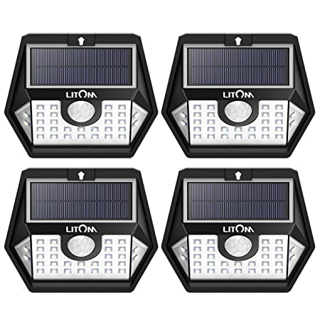 LITOM Solar Lights Outdoor Super Bright Water Resistant Motion Sensor Light 3 Lighting Modes, 270 Wide-Angle Illumination Solar Motion Lights for Front Door, Yard, Garage, Pathway and Patio,-4 Pack