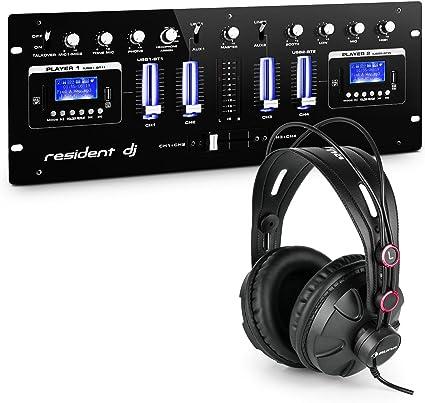 Resident dj DJ405USB BK 4-canal-DJ-Mixer Set de mesa de mezclas y ...