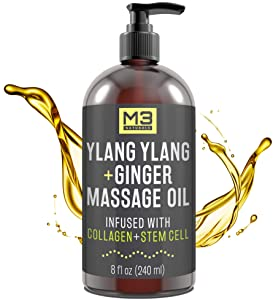 M3 Naturals Ylang Ylang and Ginger Massage Oil Infused with Collagen and Stem Cell - Therapeutic Sensual Body Lotion Cream - Essential Oils for Deep Tissue Relaxation, Sore Muscle Tension Relief