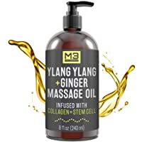 M3 Naturals Ylang Ylang and Ginger Massage Oil Infused with Collagen and Stem Cell - Therapeutic Anti-Cellulite Body Lotion Cream - Essential Oils Deep Tissue Relaxation, Sore Muscle Relief 8 oz