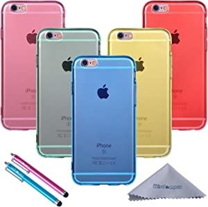 Wisdompro iPhone 6s Plus Case, iPhone 6 Plus Case, 5 Pack Clear Jelly Color Soft TPU Gel Protective Case Covers (Blue, Aqua Blue, Hot Pink, Yellow, Red) for Apple iPhone 6 Plus 6s Plus-Clear