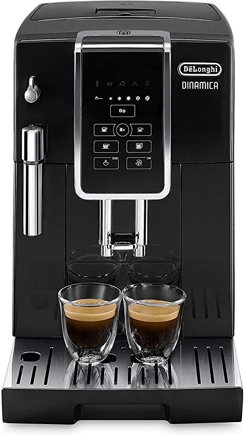 Delonghi super-automatic espresso coffee machine with an adjustable grinder, milk frother, maker for brewing espresso, cappuccino, latte. ECAM35015B ...