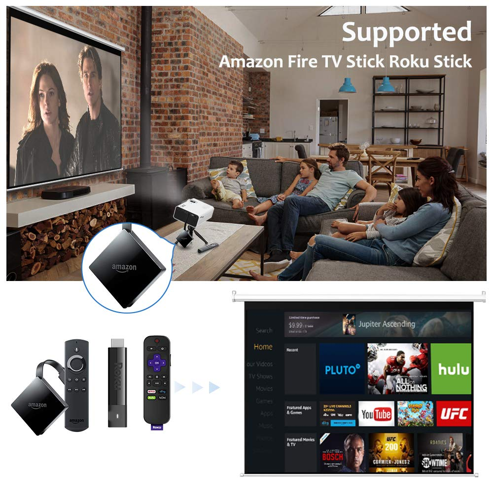 QKK Latest Upgrade 2800Lumens Mini Projector - Home Theater Projector for Indoor & Outdoor Movies & Video Games, Compatible with TV Box, PS4, DVD Player, Smartphones, 50,000 Hours LED Projector by QKK (Image #2)