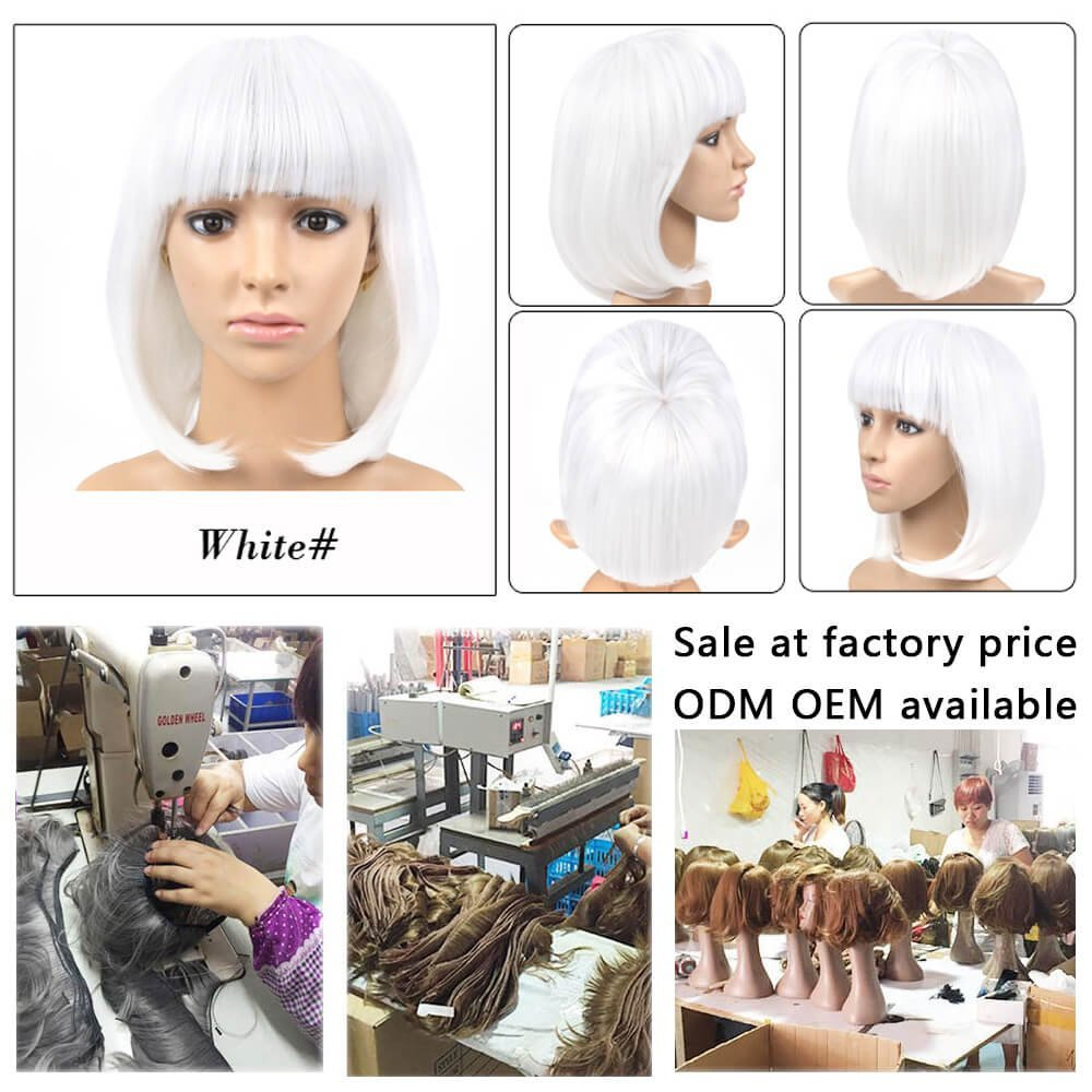 Amazon.com : Cheap Short Bob Wig White Color With Bangs for Women Full Head Colorful Cosplay Daily Party Anime Best Synthetic Wigs Straight Real Fiber Wig ...