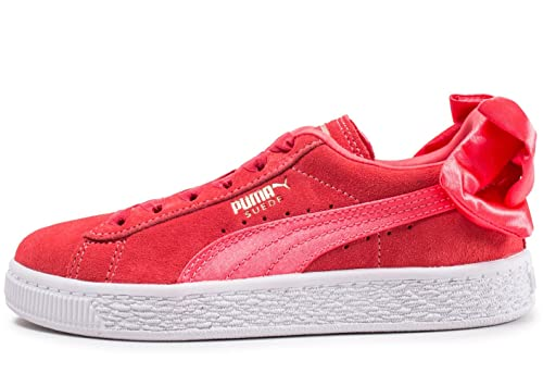 c303216909a330 Puma Children Girls Basket Bow Trainers in Pink- Elasticated Ribbon ...