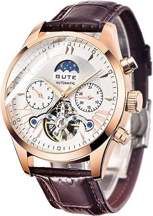 GuTe出品 腕時計 メンズ 自動巻きトゥールビョン風デザイン 革バンド 日月表示 機械式 ホワイト