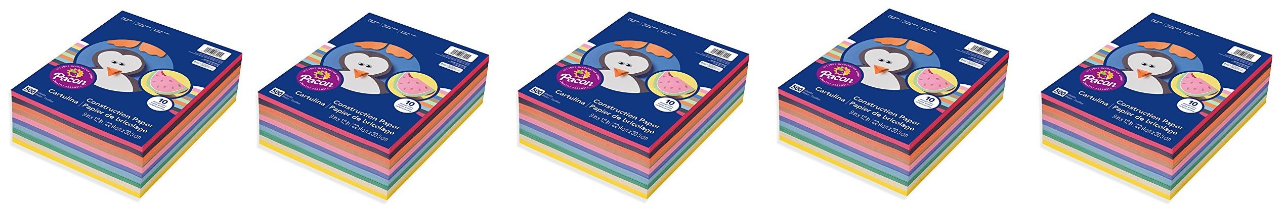 Pacon - Rainbow Super Value Construction Paper Ream, 45 lb, 9 x 12, Assorted - 500 Sheets (Pack 5)