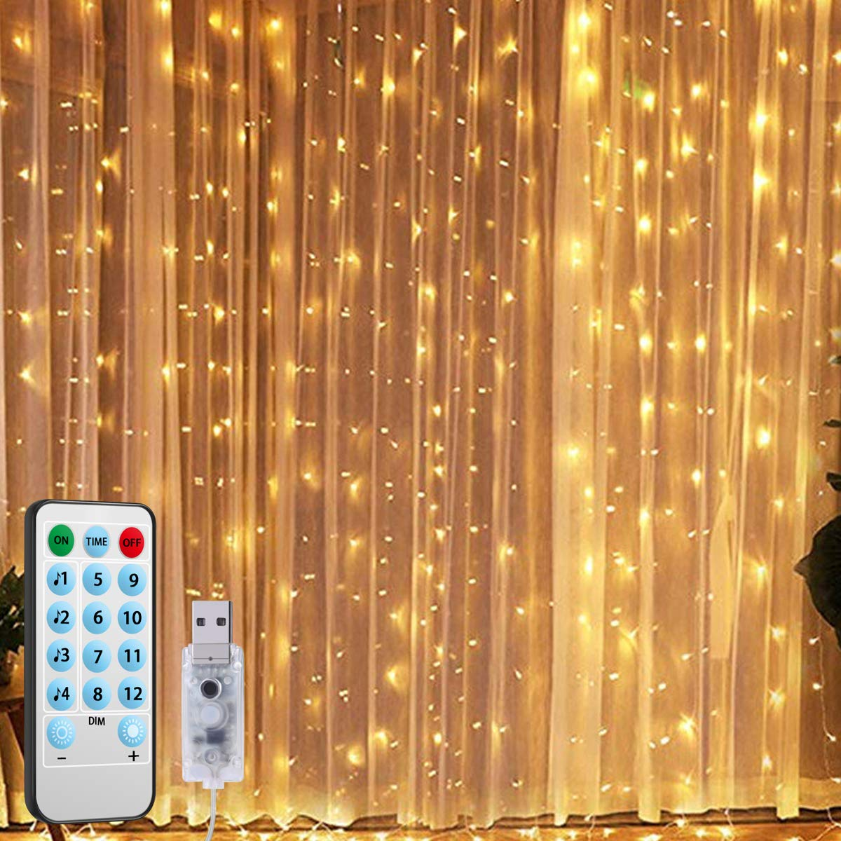 2019 New Window Curtain String Lights, 300 LED USB Powered String Lights, 4 Music Control Modes 8 Lighting Modes Waterproof Decorative Lights for Wedding, Homes, Party, Bedroom (9.8x9.8 Ft)