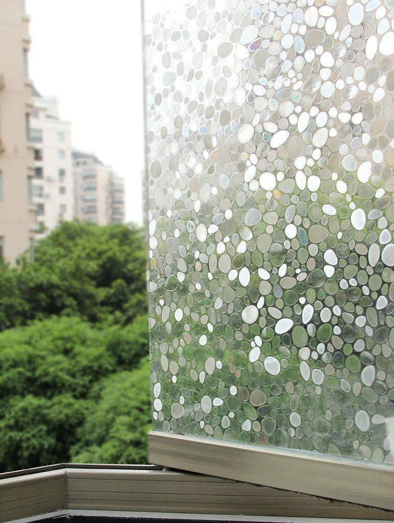 Film fen/être Protection du vis-/à-vis et d/éco sans colle statique dessin galet Larg 90 x Long 100 cm