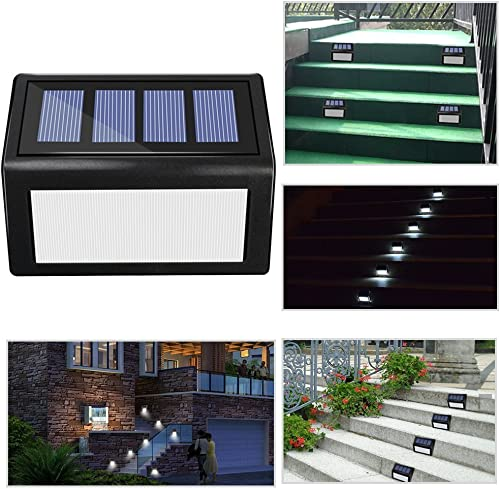 ANDEFINE 8 Pack Solar Step Lights Outdoor, 6 LED Solar Deck Lights Wireless Waterproof Security Lamps Lighting for Stairs Patio Garden Pathway White Light