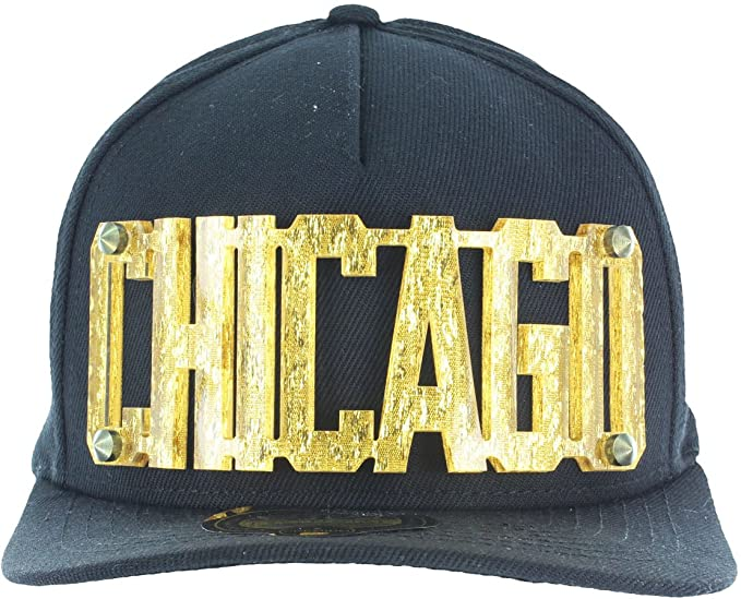 6da94a1f665 3D Letters Snapback Bling Collection - CHICAGO Plate Hip-Hop Hat Plaque  Black Gold