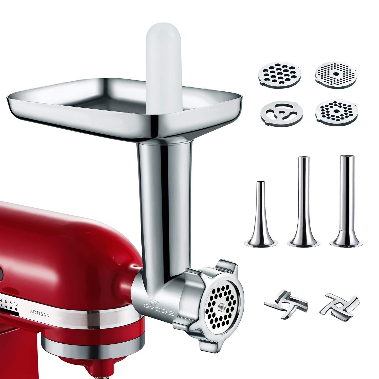 Metal Food Grinder Attachment for KitchenAid Stand Mixer Included 3 Sausage Stuffer Tubes Accessory, Upgrade Design with High Performance by GVODE.