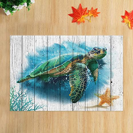 Watercolor Sea Turtle Bath Rugs Marine Life On Rustic Wood Plank Underwater World Flannel Non Slip Floor Doormat Entryways Indoor Front Door Mat Bathroom Accessories Decor 15 7x23 6in Kitchen Dining