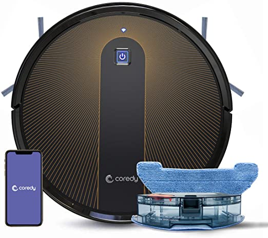 Coredy R750 Robot Aspirador, Compatible con Alexa, Sistema de Mopping, Boost Intelect, Virtual Bo...