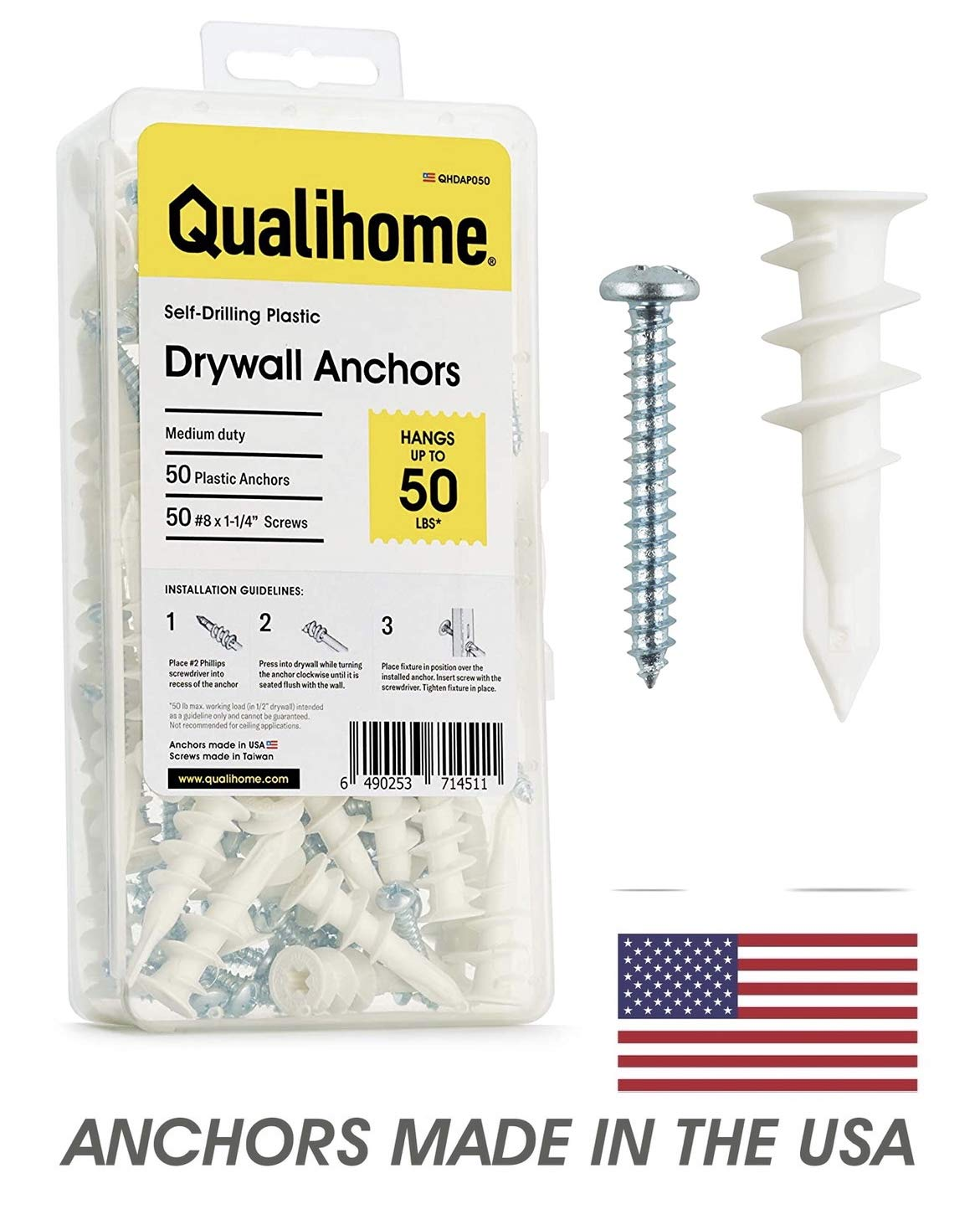 Details about  /#8 Self Drilling Drywall Plastic Anchors with Screws No Pre Drill Hole Prep...