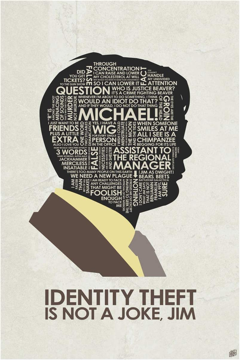 "The Office. Dwight Schrute. Identity Theft Giclee Art Print Poster from Typography Drawing by Pop Artist Stephen P. 12"" x 18"""