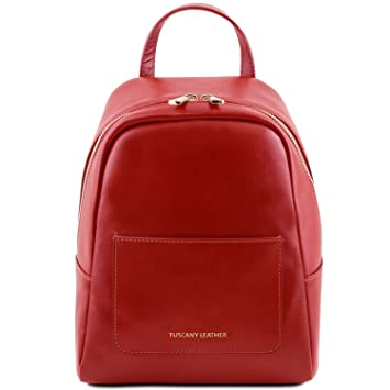 Tuscany Leather TL Bag - Little leather backpack for woman - TL141614 (Red)   Amazon.co.uk  Luggage 9a71321754