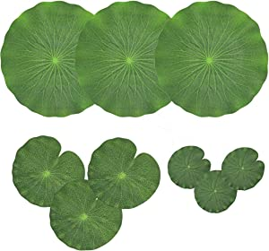 Pack of 9 Artificial Floating Foam Lotus Leaves Water Lily Pads Ornaments Green | Perfect for Patio Koi Fish Pond Pool Aquarium Home Garden Wedding Party Special Event Decoration