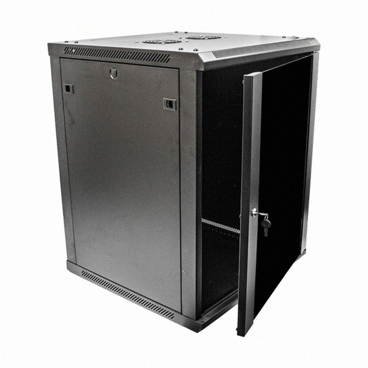 Navepoint 15U Deluxe IT Wallmount Cabinet Enclosure 19-Inch Server Network Rack With Locking Glass Door 24-Inches Deep Black