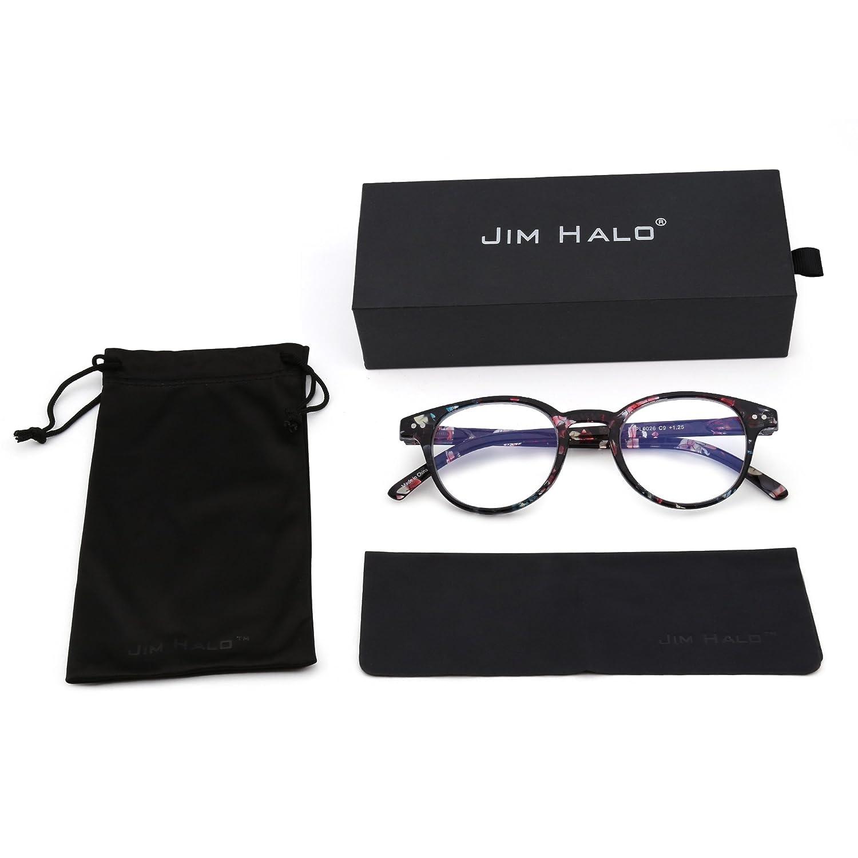 JIM HALO Anti Luz Azul Retro Redondas Bisagras de Resorte Computadora Gafas Reduce Fatiga Ocular