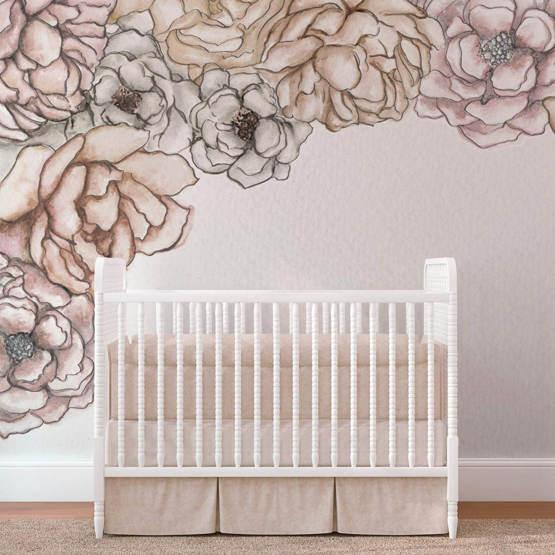 Wall Mural - Pink and Neutral Peony and Rose Flowers Removable Pre-Pasted Paper Mural. Easy to Apply and and Easy to Remove. 9' Wide x 8' Tall. by Flipside.
