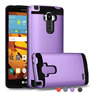 LG G Stylo case,LG G4 Stylus case,LG LS770 case/LG G Stylo H631/ MS631 case with Phone Grip,Ayoo Brushed Texture Full-Body Shockproof Protective Cover Design for LG LS770-ZS Purple