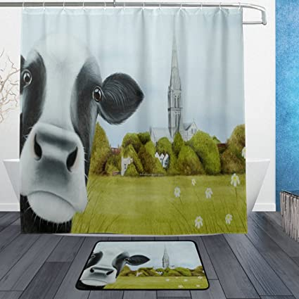 Image Unavailable Not Available For Color DJROW Farmhouse Cow Shower Curtain