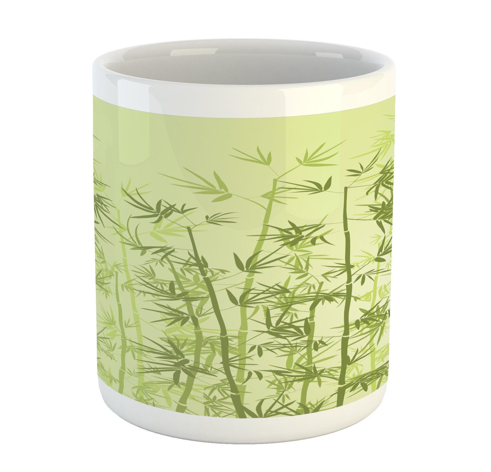 Ambesonne Forest Mug, Tropical Style Woodland Spiritual Nature Spa Chakra Zen Yoga Concept, Printed Ceramic Coffee Mug Water Tea Drinks Cup, Pale Green Dark Green