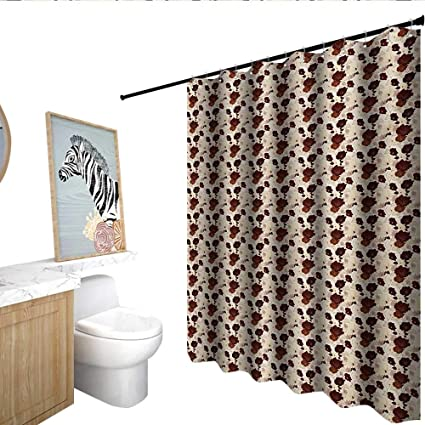Homecoco Floral Waterproof Bathtub Curtain Hand Drawn Hibiscus Flowers With Earthy Colors Exotic Hawaii Nature Composition