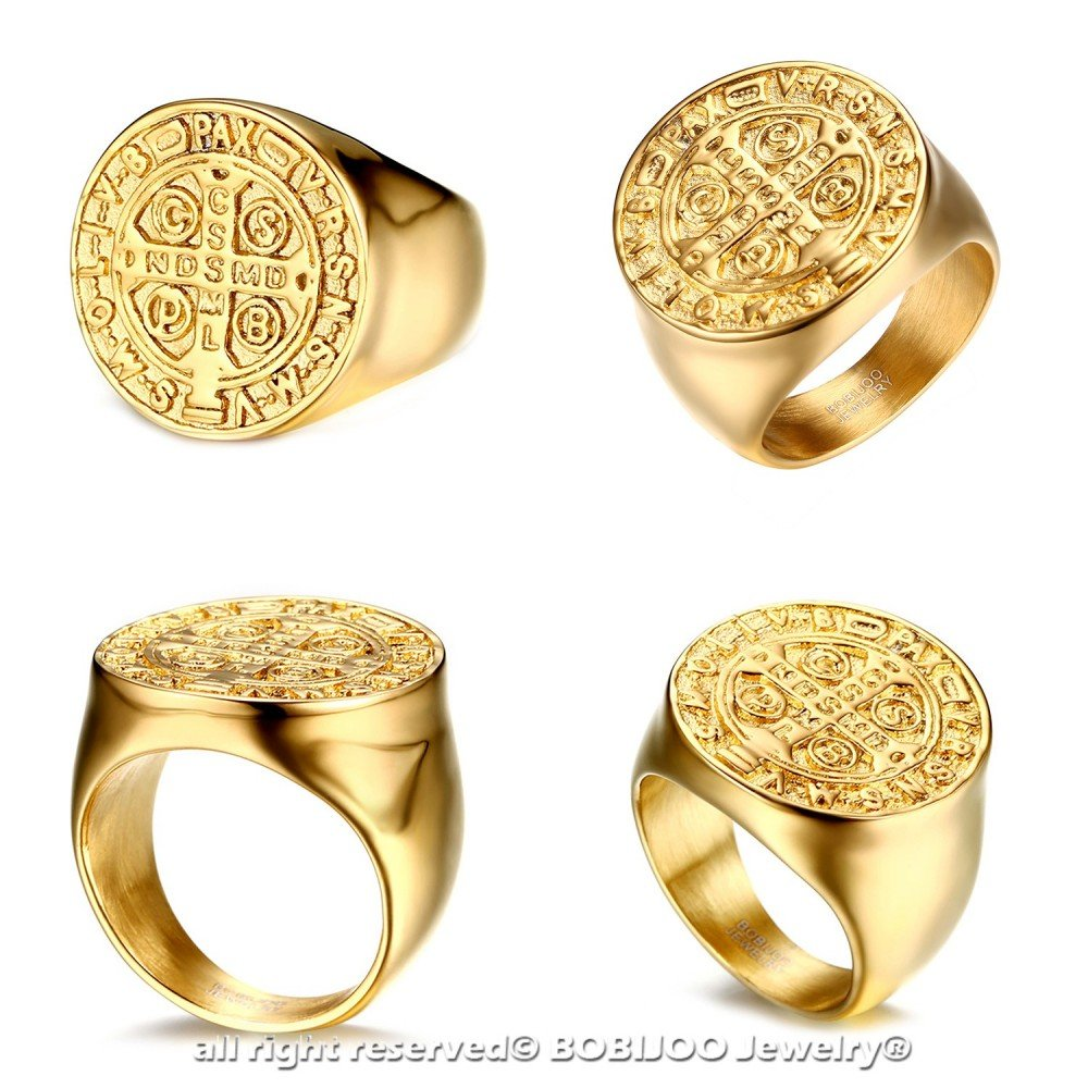 Bague Chevali/ère Homme M/édaille Croix Ordre Saint Beno/ît de Nursie Acier Dor/é Or BOBIJOO Jewelry