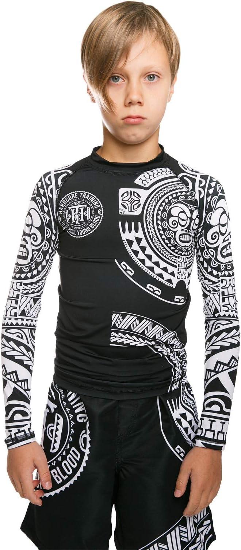 Tatami Fightwear Tropic Black Long Sleeve Kids Rash Guard Camicia a Compressione Bambini Abbigliamento Sportivo BJJ No Gi Fitness Boxeo Esercizio