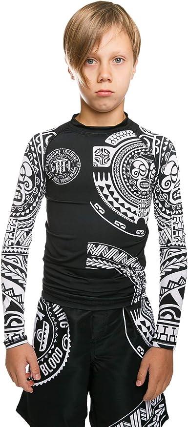 Hardcore Training Rash Guard for Boy MMA BJJ Boxing Sport Compression Shirt Kids Ta Moko