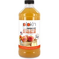 Pipkin 473ml Raw 100% Organic Apple Cider Vinegar with The Mother, Non-GMO Cloudy ACV Pure Cold Pressed, Unrefined, Unfiltered, Unpasteurized, 5% Acidity, Vegan & Vegetarian Friendly, Kosher