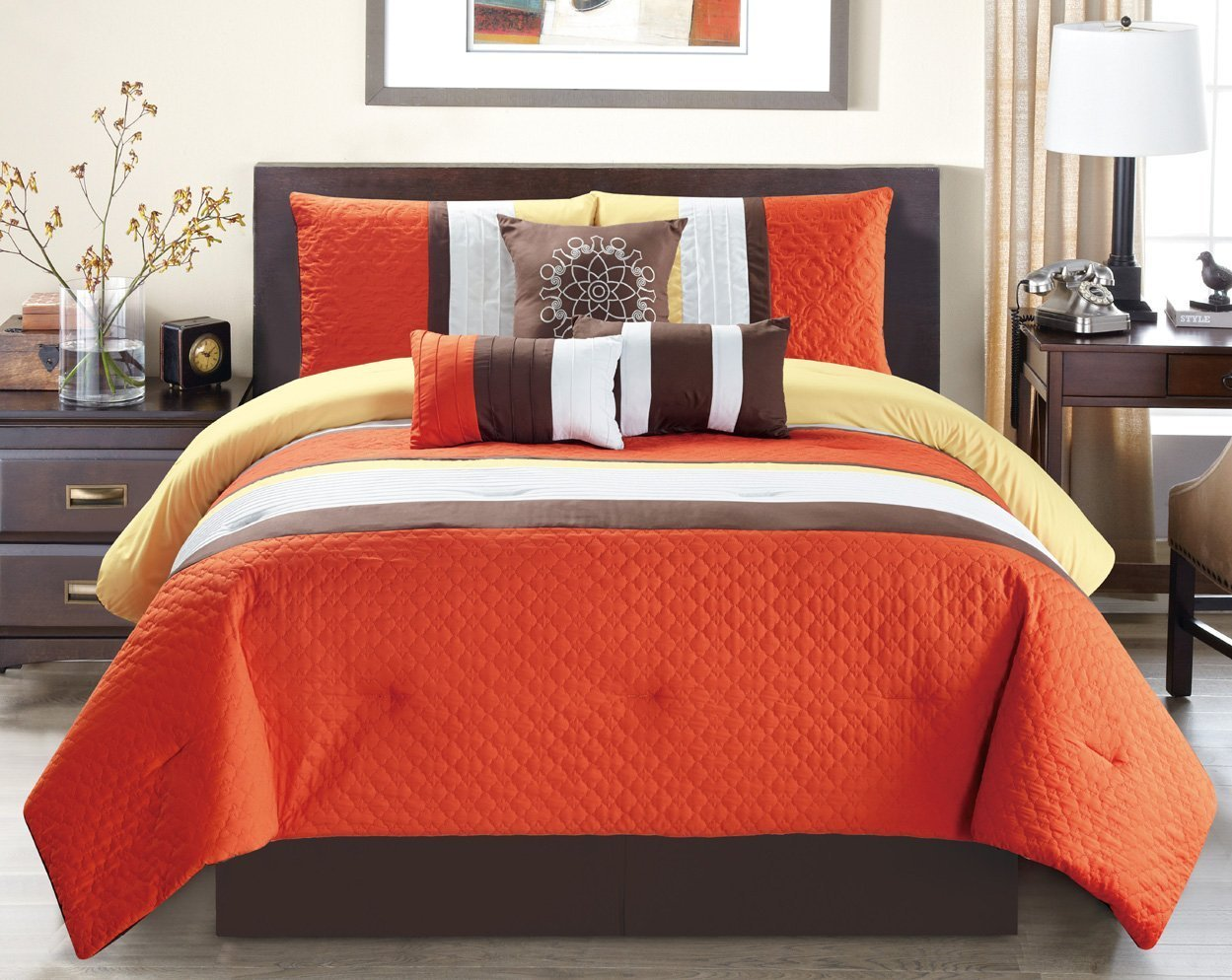 """Modern 7 Piece Oversize Orange / Brown / White Embroidered Pin Tuck Comforter Set King Size Bedding with Accent Pillows 104""""X94"""""""