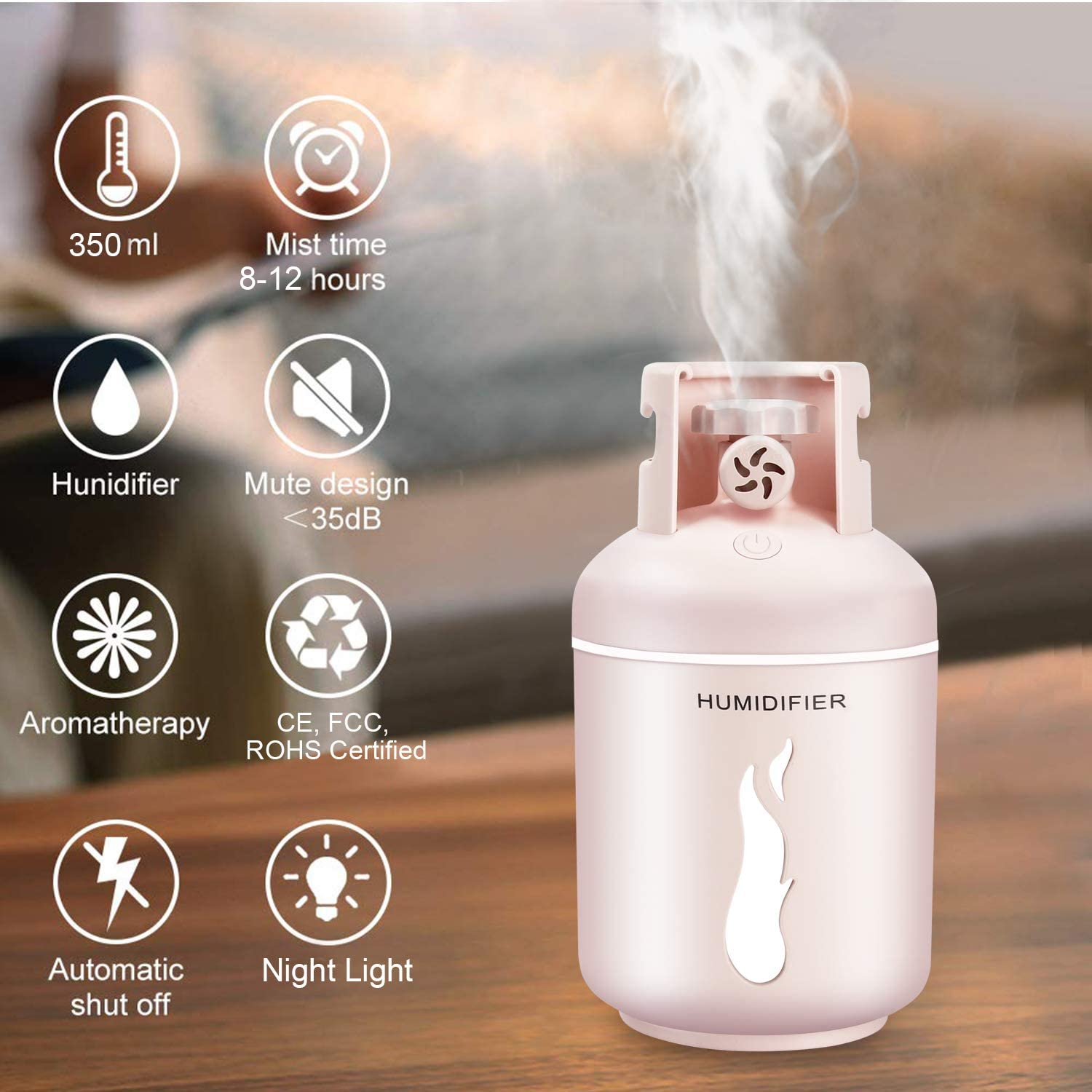 DCMEKA Car Humidifier, Mini Travel Portable Humidifier USB Desk Humidifier, Essential Oil Diffuser, Up to 8H Use Car Aroma Diffuser, Personal