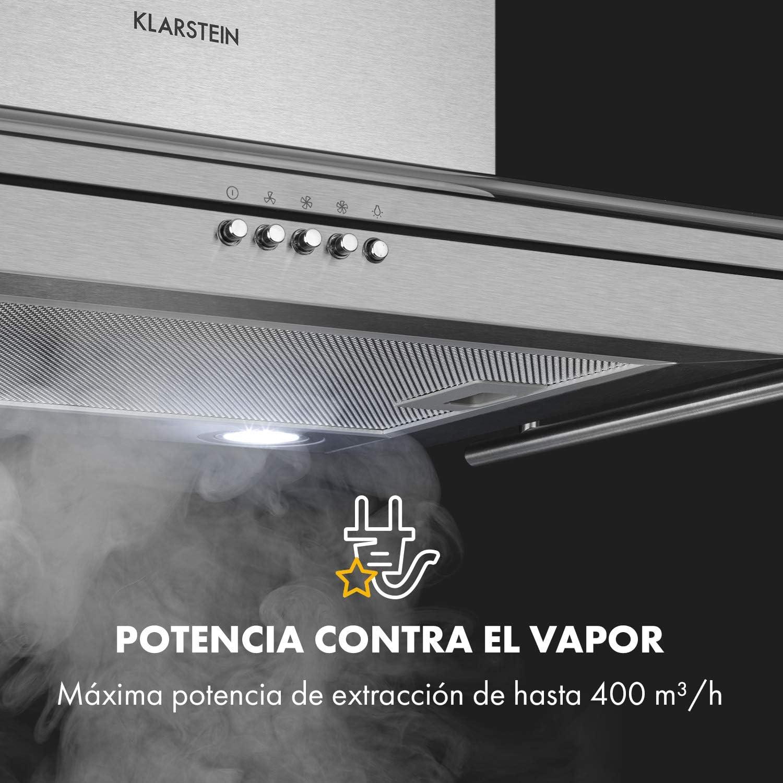 Klarstein Maverick - campana extractora con barandilla, extractor de pared, 70 cm, absorción de 400 m³/h, filtro de grasa de aluminio, 65 dB, función ventilación, acero inoxidable, vidrio, plateado: Amazon.es: Hogar