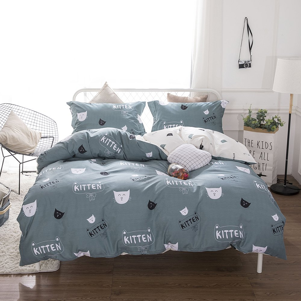 BHUSB Boys Kitten Duvet Cover Set Twin 100 Percent Cotton Bedding Sets Best Gift for Kids Reversible Bedding Collection with Zipper Closure Cartoon Cat Comforter Cover with 2 Pillowcase by