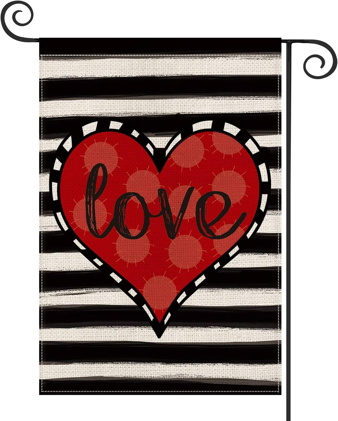 AVOIN Love Heart Garden Flag Vertical Double Sized, Valentine's Day Anniversary Wedding Yard Outdoor Decoration 12.5 x 18 Inch
